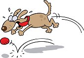 Cartoon of an excited dog chasing a red ball