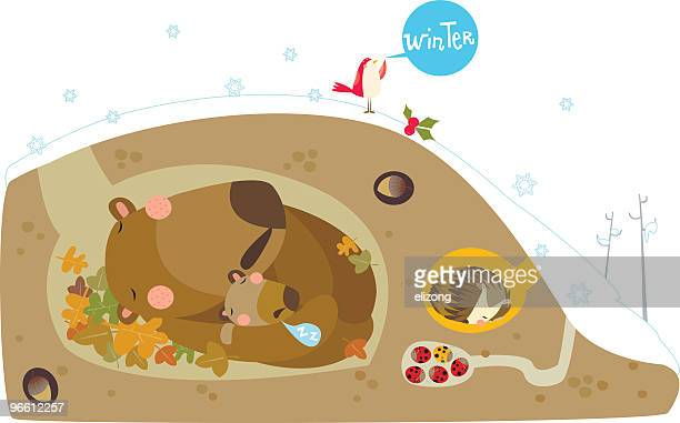 cartoon of animals hibernating through the winter - hibernation stock illustrations