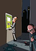 Cartoon of ATM crime
