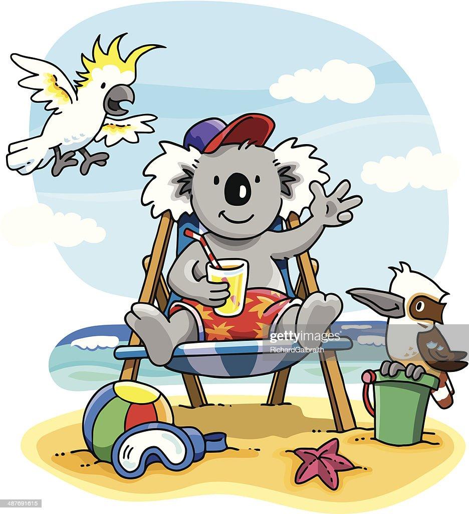 Cartoon of Aussie koala on beach