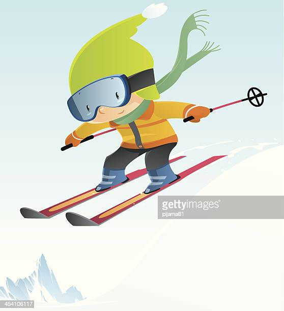 illustrations, cliparts, dessins animés et icônes de petit garçon ski - ski humour