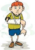 Cartoon of  boy with a cast