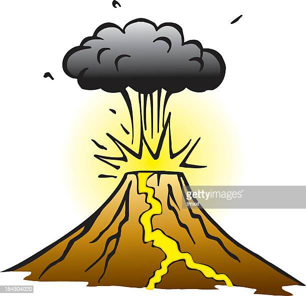 cartoon of brown volcano with yellow lava and black smoke - erupting stock illustrations, clip art, cartoons, & icons