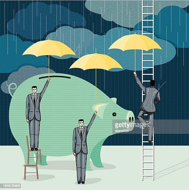 cartoon von business-Männer Schutz einer erweiterten Sparschwein