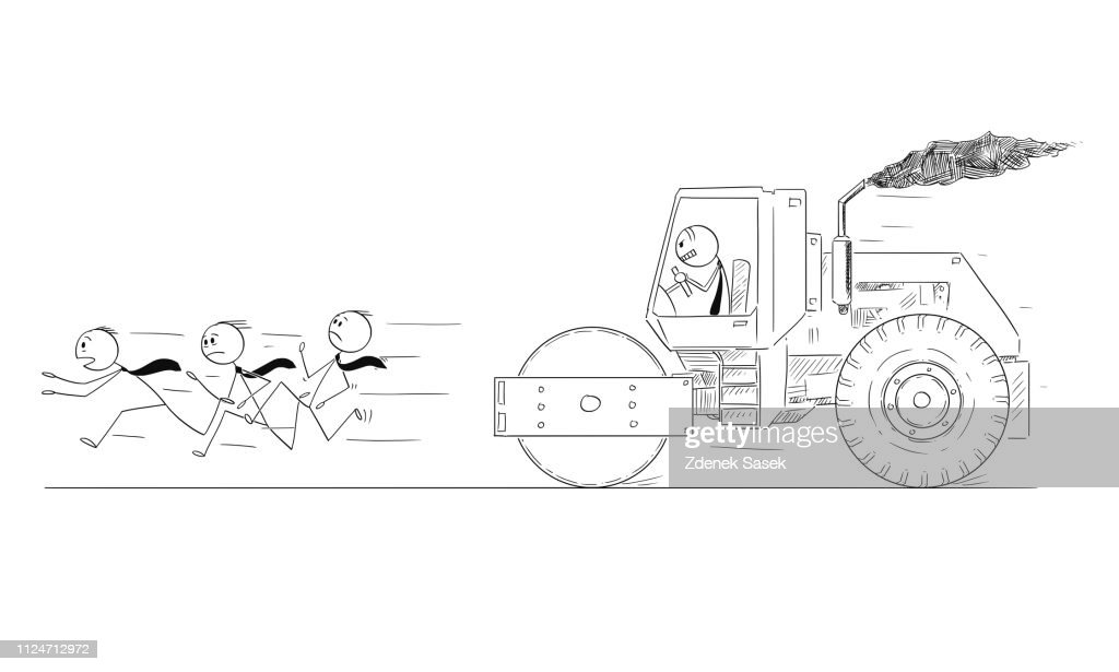 Cartoon of Businessman Driving Road Roller and Trying to Roll His Competitors