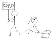 Cartoon of Businessman Walking with Fair Play Sign After he Hit Another Man with Sign