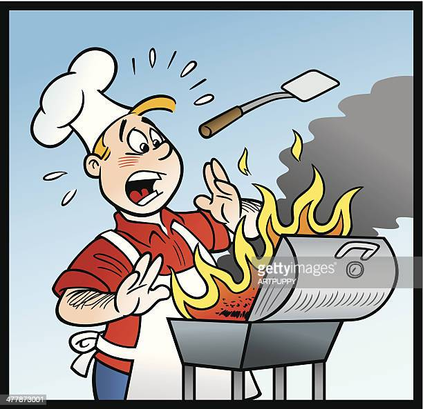Cartoon of Cook With BBQ on Fire