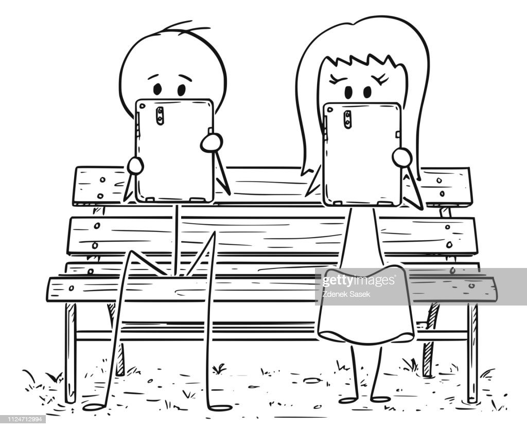 Cartoon of Couple Sitting on Park Bench and Working or Doing Something on Tablets