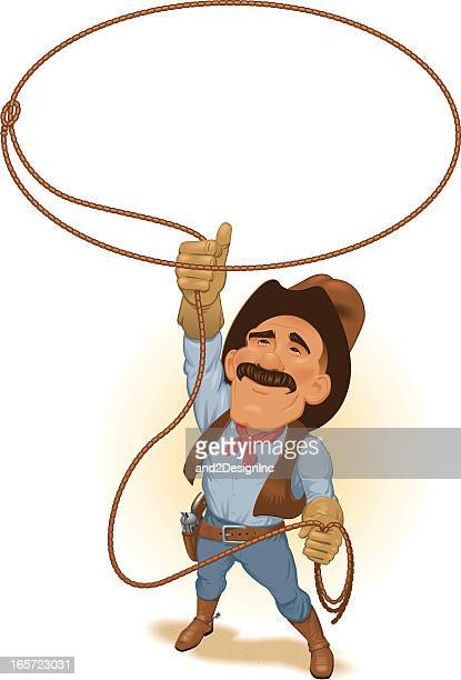 Cartoon of cowboy with mustache holding lasso