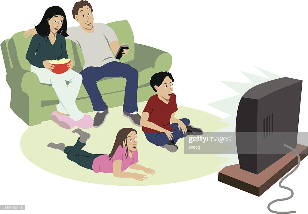 Cartoon of family of four watching television