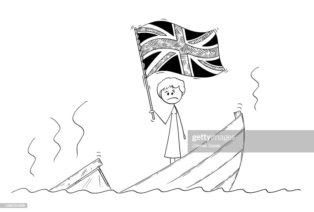 Cartoon of Female or Woman Politician Standing Depressed on Sinking Boat Waving the Flag of United Kingdom of Britain