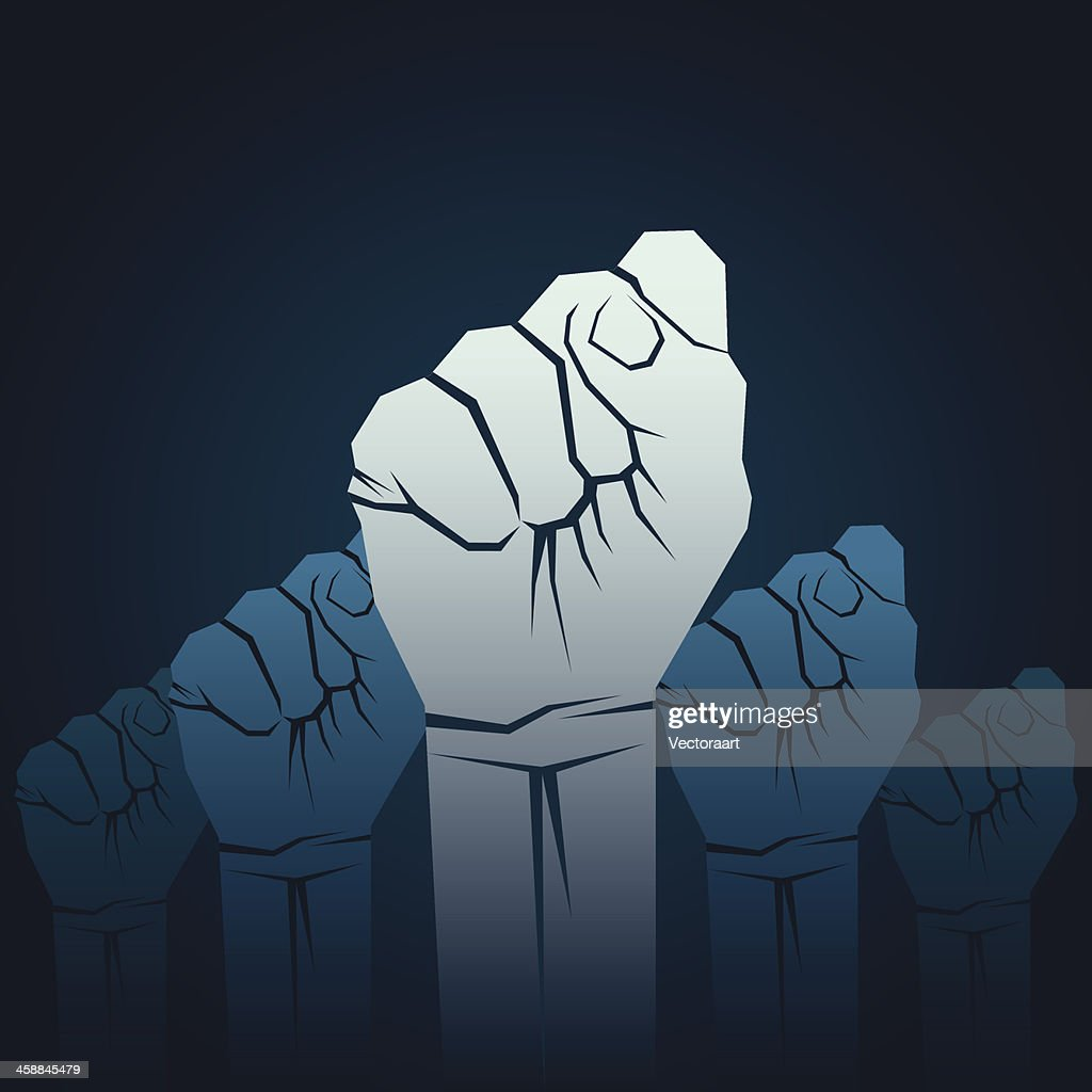 Cartoon of five fists raised in unison showing solidarity
