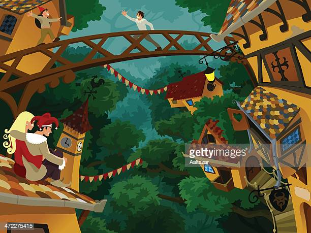 Cartoon of Forest Village with Happy People