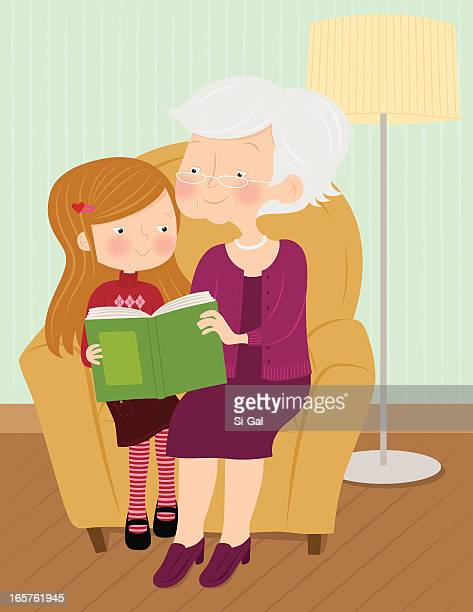 Cartoon of grandmother and granddaughter during storytime