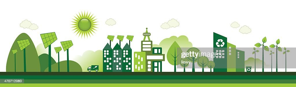 Cartoon of green city with renewable energy