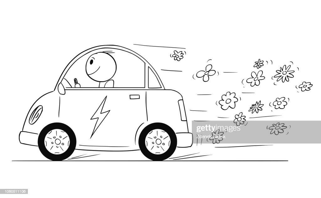 Cartoon of Happy Man Riding Electric Car, Flowers are Coming Out of the Vehicle.