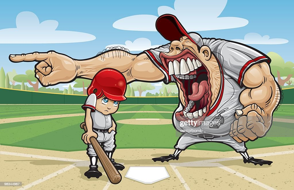 Cartoon of large angry coach yelling at little league kid