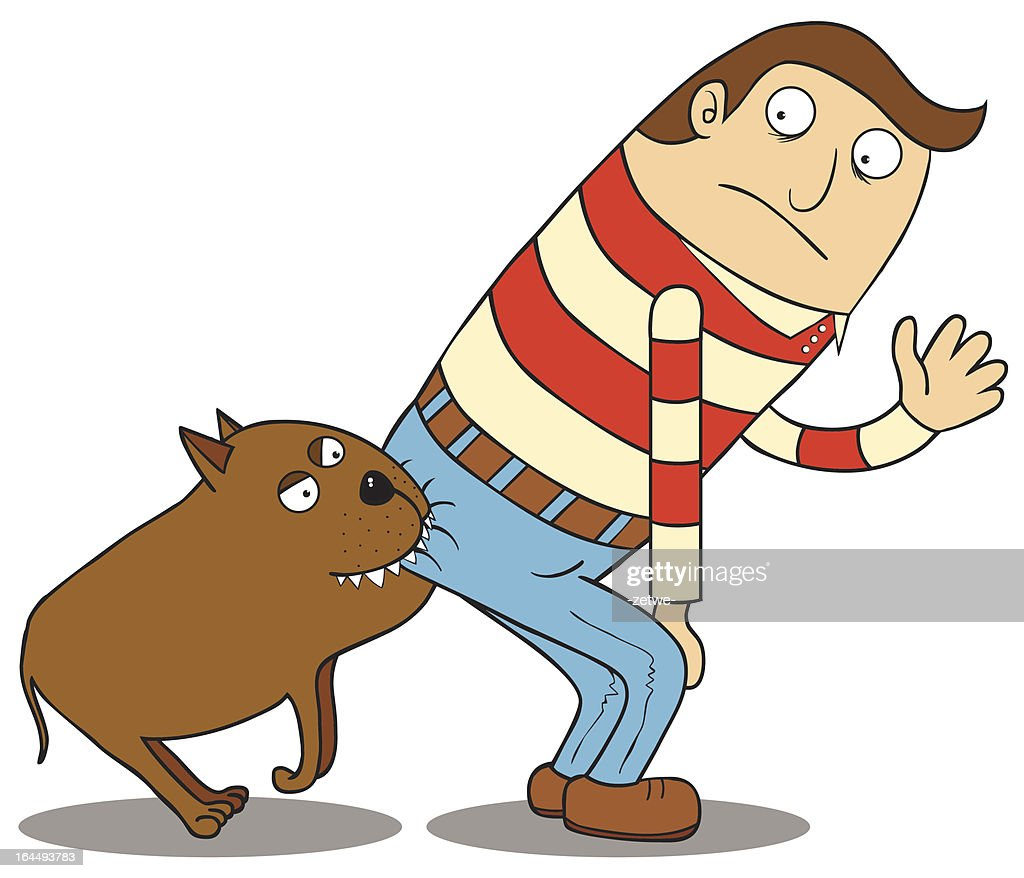 Cartoon of man bent over meanwhile his buttock bitten by dog