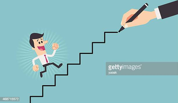 cartoon of man going up stairs being drawn by hand - assertiveness stock illustrations, clip art, cartoons, & icons