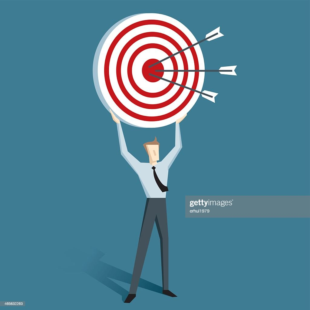 Cartoon Of Man Holding Up A Target With Arrows On It Vector Art