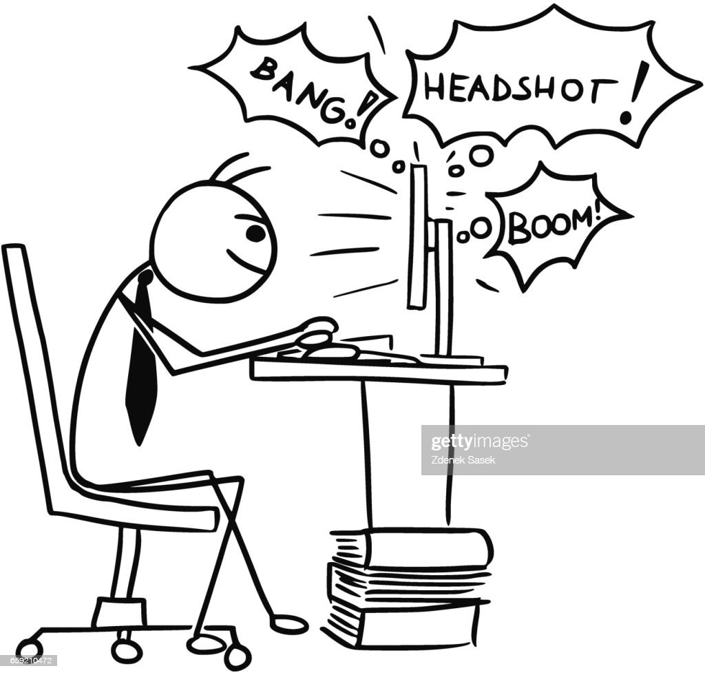 Cartoon Of Man Playing Video Game On Computer Screen During Job Work High Res Vector Graphic Getty Images