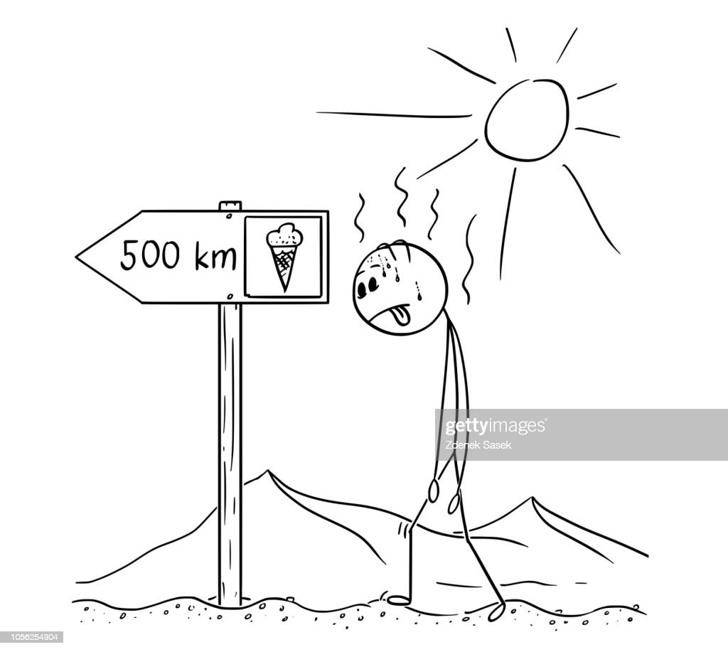 Cartoon of Man Walking Thirsty Through Desert and Found Sign Ice Cream 500 km or Kilometers