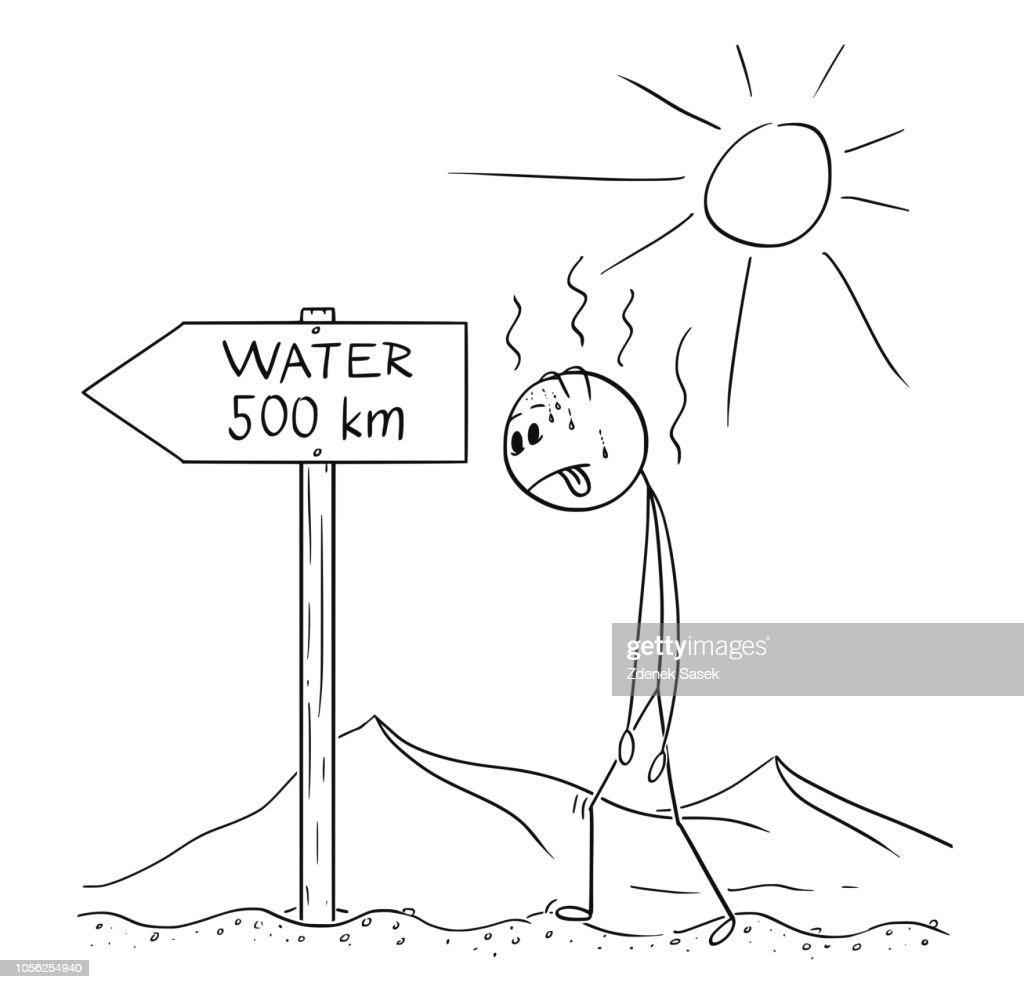 Cartoon of Man Walking Thirsty Through Desert and Found Sign Water 500 km or Kilometers