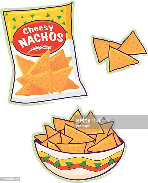 cartoon of nacho cheese tortilla chips - nachos stock illustrations