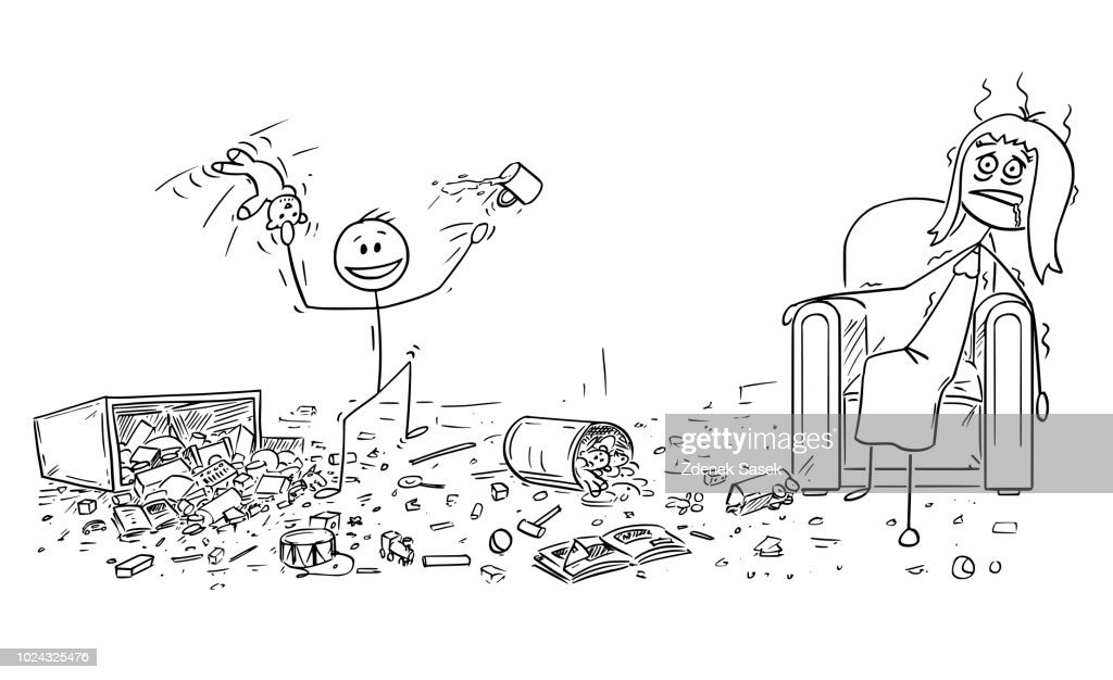 Cartoon of Naughty Little Boy Doing Mess, Exhausted Mother is Sitting in Armchair
