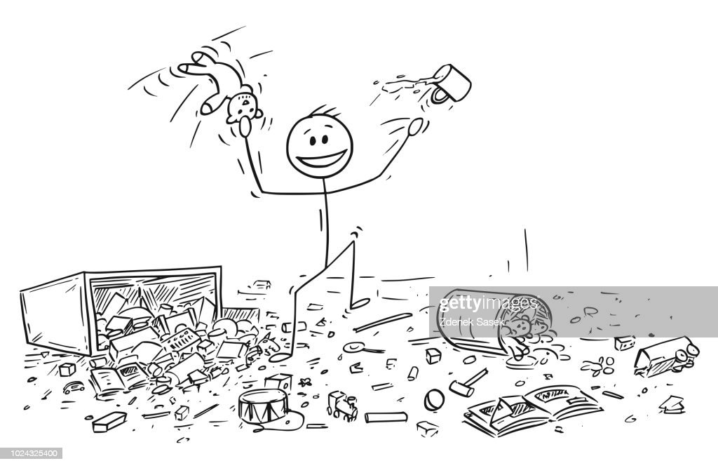 Cartoon of Naughty or Disobedient Little Boy Doing Mess