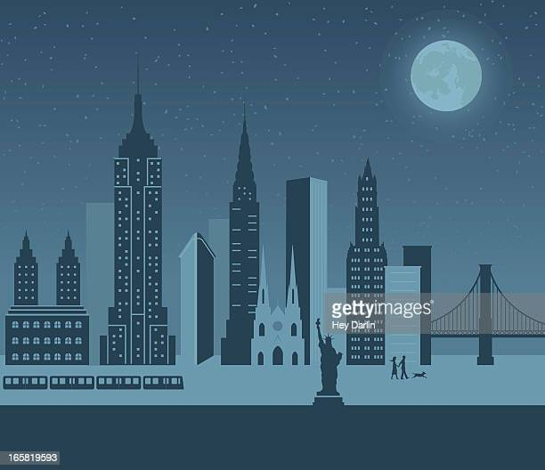 a cartoon of new york at night - st. patrick's cathedral manhattan stock illustrations, clip art, cartoons, & icons