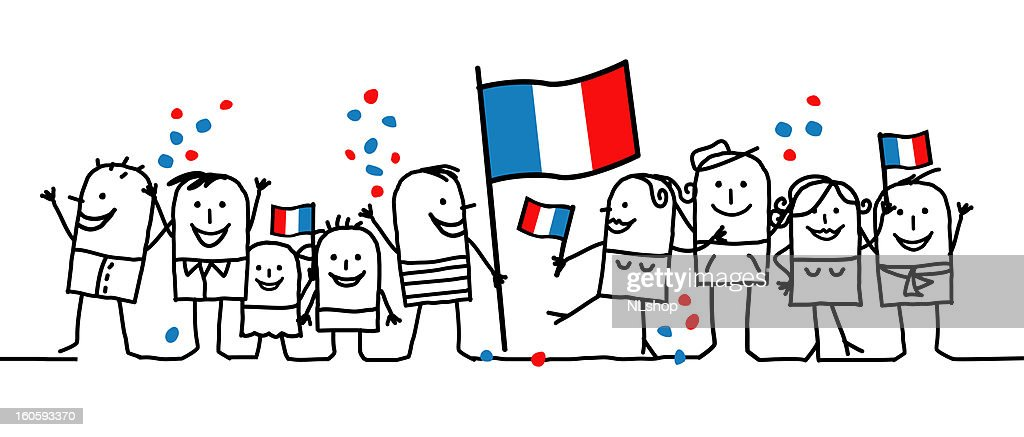 Cartoon of nine people celebrating a national French holiday
