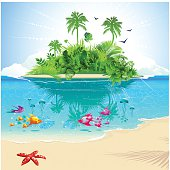 Cartoon of ocean and island with tropical fish and greenery