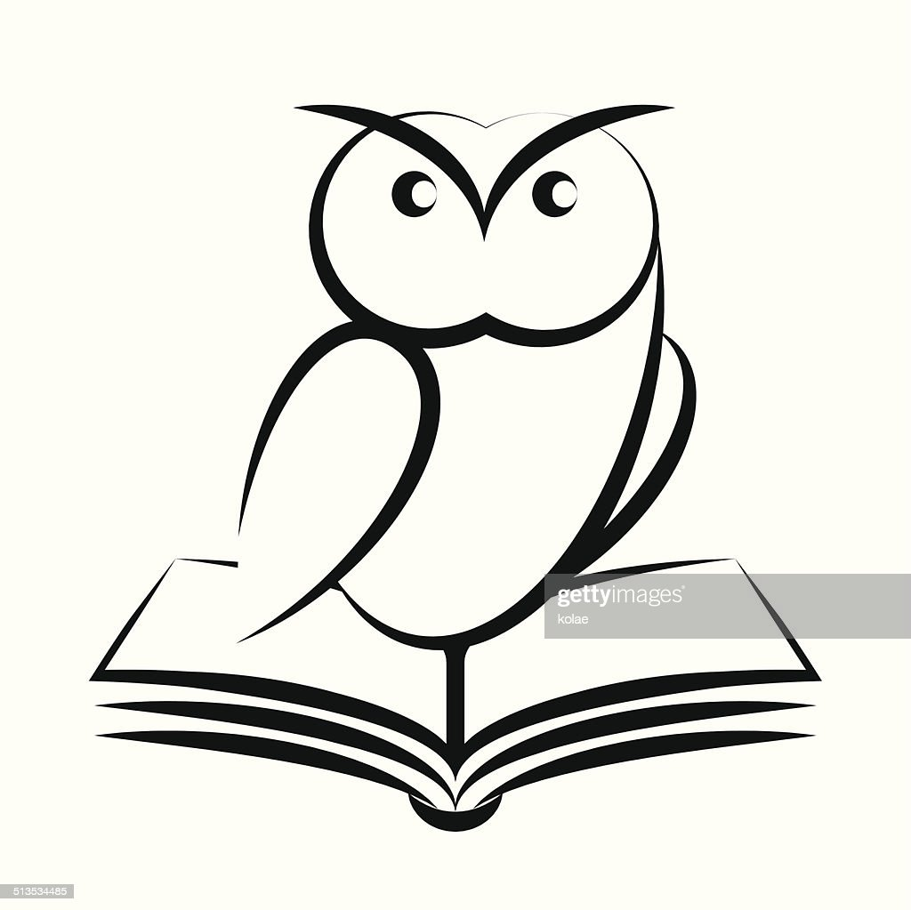 Cartoon of owl and book - symbol of wisdom