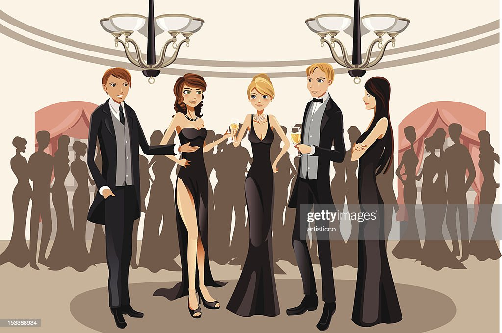 Cartoon of people mingling at a party
