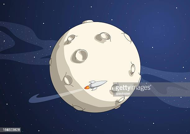 Cartoon of planet with rocket flying around