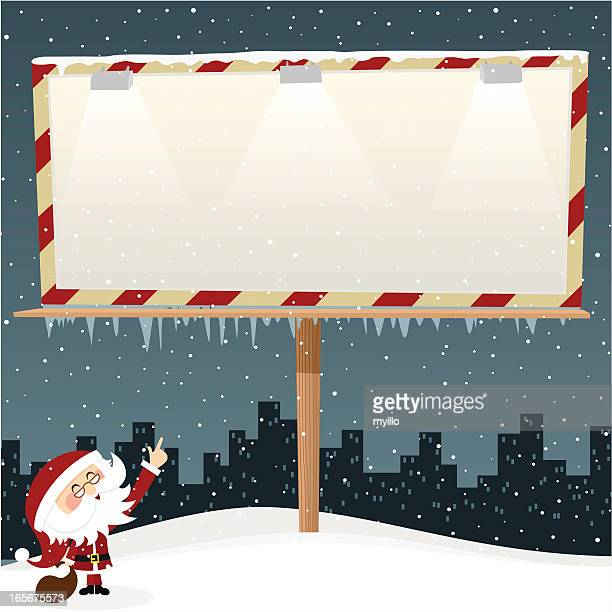 Cartoon of Santa Claus pointing to a blank template sign