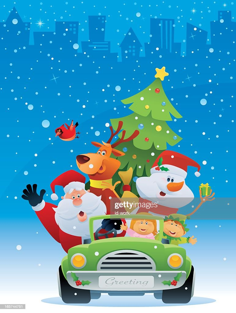 A cartoon of Santa with a reindeer and snowman in a car