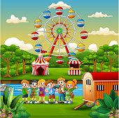 Cartoon of school children with amusement background
