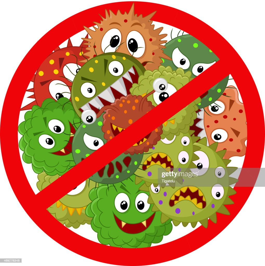 Cartoon of several viruses trapped inside a stop sign
