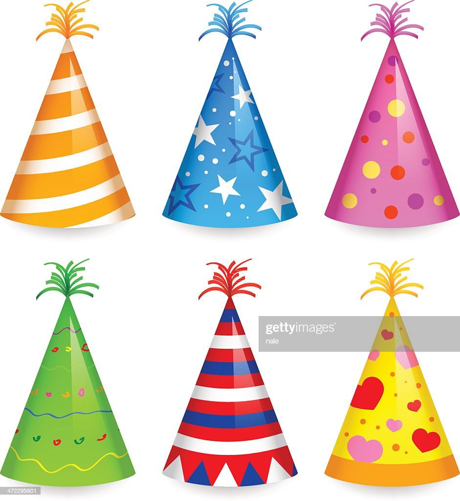Cartoon of six differently colored party hats
