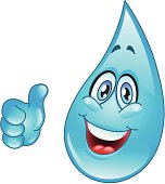 Cartoon of smiling blue water drop giving thumbs up signal