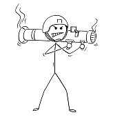 Cartoon of Soldier Shooting From Rocket Launcher