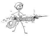 Cartoon of Soldier Shooting From Rotary Machine Gun Cannon