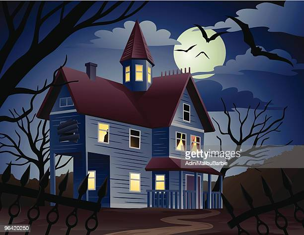 Cartoon of Spooky Haunted House and Bats at Night
