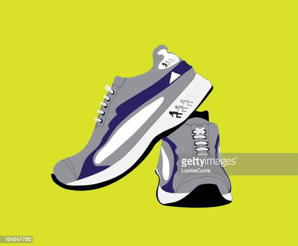 Cartoon of sport shoes on yellow background