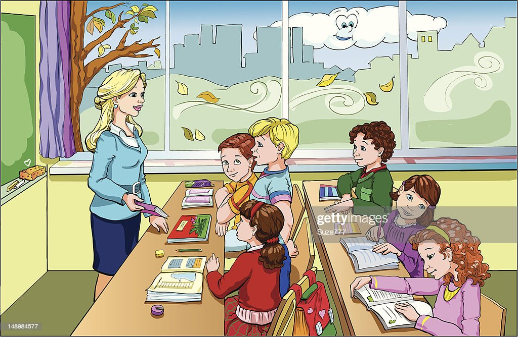 cartoon of students in a classroom listening to teacher