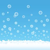 Cartoon of suds and bubbles on a blue background