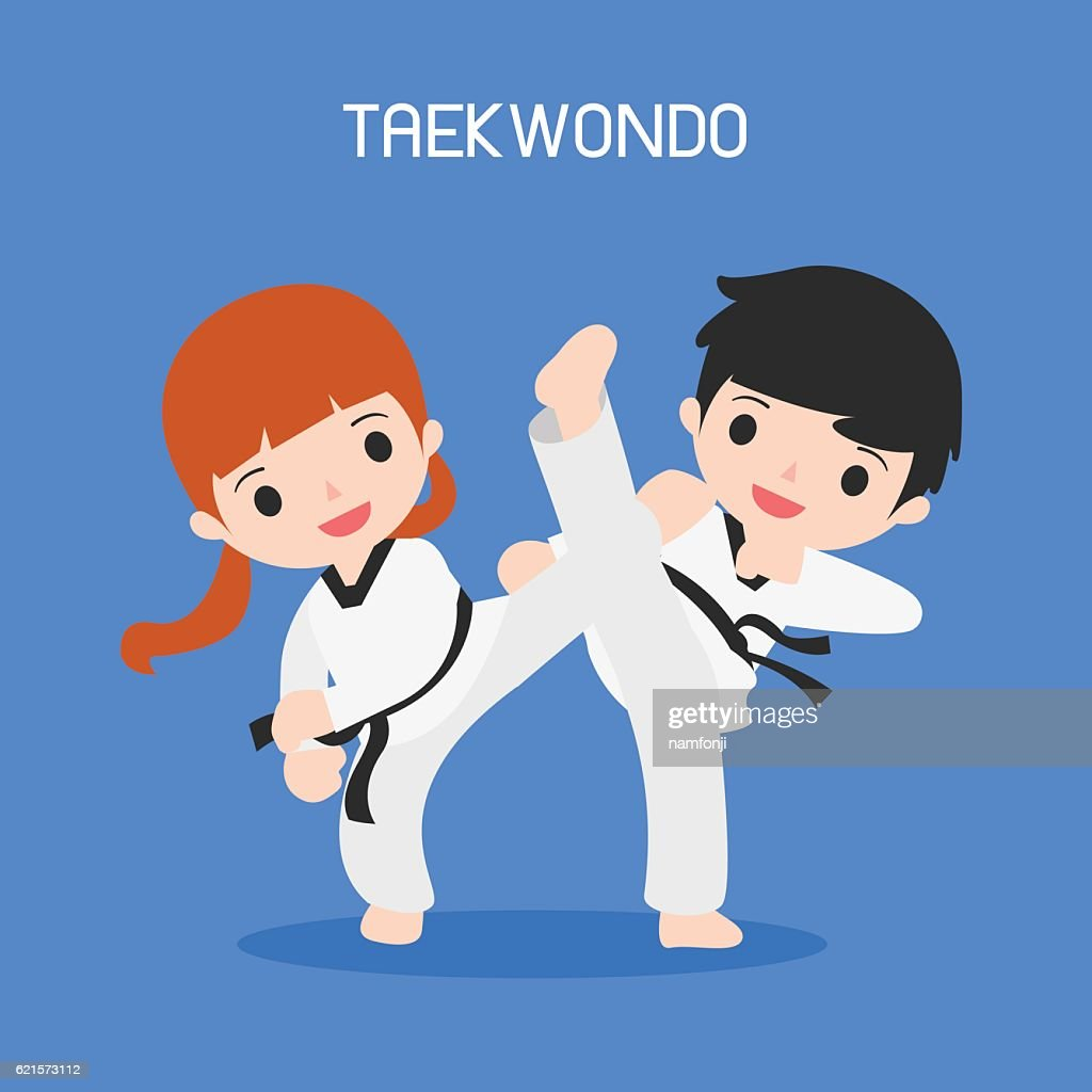 cartoon of taekwondo