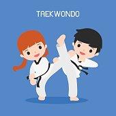 cartoon of taekwondo